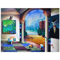 """Ferjo, """"Magritte's Garden View"""" Original Painting on Canvas, Hand Signed with Letter of Authenticity"""