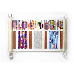 """Yaacov Agam- Serigraph on Parchment """"THE YAACOB AGAM MEGILLAH (SCROLL OF ESTHER)"""""""