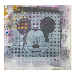 "Gail Rodgers, ""Mickey Mouse"" Hand Signed Original Hand Pulled Silkscreen Mixed Media on Canvas with"