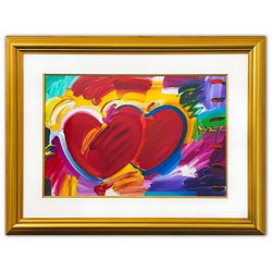 """Peter Max- Original Mixed Media """"Two Hearts As One"""""""