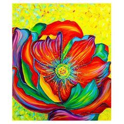 """Svyatoslav Shyrochuk- Original Oil on Canvas """"Colorful Flower"""""""