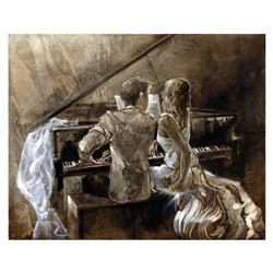 "Lena Sotskova, ""Just Married"" Hand Signed, Artist Embellished Limited Edition Giclee on Canvas with"
