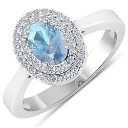 Natural 0.76 CTW Aquamarine & Diamond Ring 14K White Gold - REF-36X9K