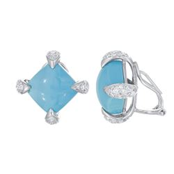 Natural 14.92 CTW Turquoise & Diamond Earrings 14K White Gold - REF-95H4W
