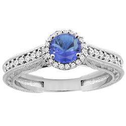 1.08 CTW Tanzanite & Diamond Ring 14K White Gold - REF-63K4W