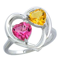 2.61 CTW Diamond, Pink Topaz & Citrine Ring 14K White Gold - REF-33H9M