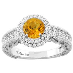 1.20 CTW Citrine & Diamond Ring 14K White Gold - REF-86X4M