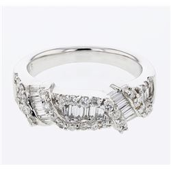 Natural 1.02 CTW Diamond & Baguette Ring 18K White Gold - REF-163M8F