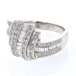 Natural 0.85 CTW Baguette & Diamond Ring 14K White Gold - REF-135H2W