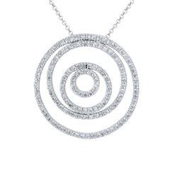 Natural 1.33 CTW Diamond Necklace 14K White Gold - REF-107X3T