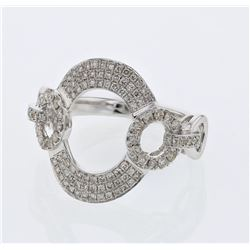 Natural 0.59 CTW Diamond Ring W=17.5MM 18K Gold - REF-111Y6N