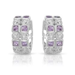 Natural 1.37 CTW Pink Sapphire & Diamond Earrings 14K White Gold - REF-82X8T