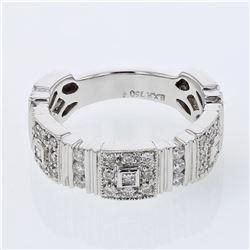 Natural 0.75 CTW Diamond & Princess Diamond Ring 18K White Gold - REF-139R5K