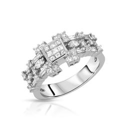 Natural 1.14 CTW Diamond & Baguette Ring 14K White Gold - REF-153Y2N