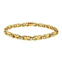 Natural 1.04 CTW Diamond & Bracelet 14K Yellow Gold - REF-152H3W