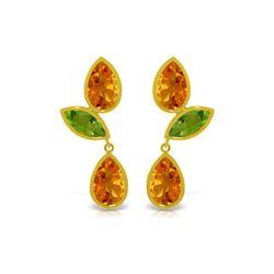 Genuine 13.6 ctw Citrine & Peridot Earrings 14KT Yellow Gold - REF-62T4A