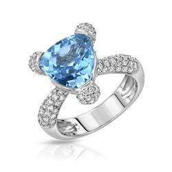 Natural 6.02 CTW Topaz & Diamond Ring W=13MM 14K Gold - REF-140R4K