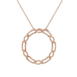 Natural 0.56 CTW Diamond Necklace 14K Rose Gold - REF-95X4T