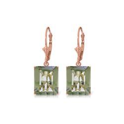 Genuine 13 ctw Green Amethyst Earrings 14KT Rose Gold - REF-54Z2N