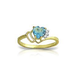 Genuine 0.97 ctw Blue Topaz & Diamond Ring 14KT Yellow Gold - REF-29R7P