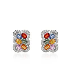 Natural 7.36 CTW Multi-Sapphire & Diamond Earrings W=5MM 14K Gold - REF-156M6F