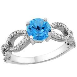 1.25 CTW Swiss Blue Topaz & Diamond Ring 14K White Gold - REF-49W8F