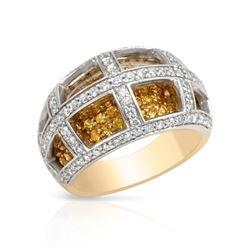 Natural 2.28 CTW Yellow Sapphire & Diamond Ring 14K Two Tone Yellow Gold - REF-135R2K