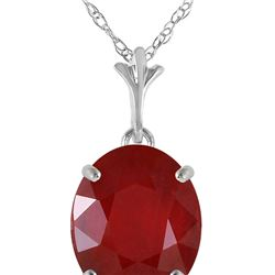 Genuine 3.5 ctw Ruby Necklace 14KT White Gold - REF-38M6T