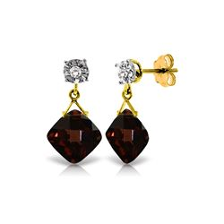 Genuine 17.56 ctw Garnet & Diamond Earrings 14KT Yellow Gold - REF-59R2P