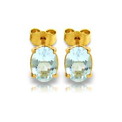 Genuine 1.80 ctw Aquamarine Earrings 14KT Yellow Gold - REF-21A2K