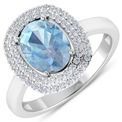 Natural 1.68 CTW Aquamarine & Diamond Ring 14K White Gold - REF-58K9W