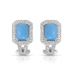 Natural 2.85 CTW Turquoise & Diamond Earrings 14K White Gold - REF-72R2K