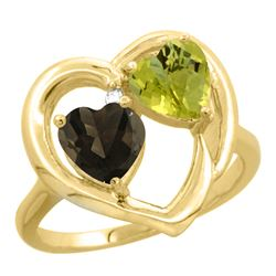 2.61 CTW Diamond, Quartz & Lemon Quartz Ring 14K Yellow Gold - REF-33V5R