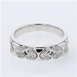 Natural 0.12 CTW Diamond Band Ring 18K White Gold - REF-65M7F