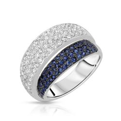 Natural 1.24 CTW Sapphire & Diamond Ring W=12MM 14K Gold - REF-119R7K