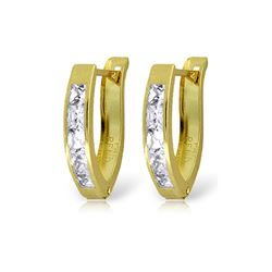 Genuine 1.20 ctw White Topaz Earrings 14KT Yellow Gold - REF-24H5X