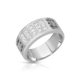 Natural 0.73 CTW Princess Diamond Ring 14K White Gold - REF-175H5W