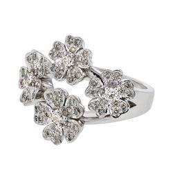 Natural 0.73 CTW Diamond Ring 14K White Gold - REF-120M6F