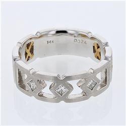 Natural 0.24 CTW Princess Diamond Ring 14K Two Tone Yellow Gold - REF-110X7T