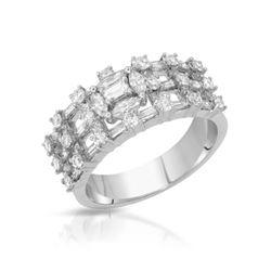 Natural 1.63 CTW Baguette & Diamond Ring 18K White Gold - REF-211Y5N