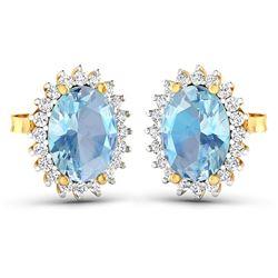 Natural 2.36 CTW Aquamarine & Diamond Earrings 14K Yellow Gold - REF-43K3W