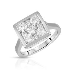 Natural 1.50 CTW Diamond Ring 14K White Gold - REF-245R7K