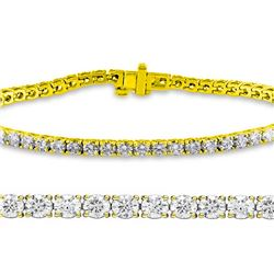 Natural 3.04ct VS2-SI1 Diamond Tennis Bracelet 18K Yellow Gold - REF-236N5K