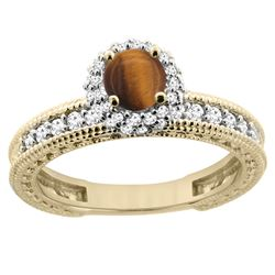 0.95 CTW Tiger Eye & Diamond Ring 14K Yellow Gold - REF-66K2W