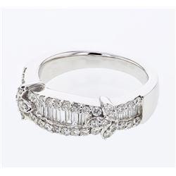 Natural 0.89 CTW Diamond & Baguette Ring 18K White Gold - REF-162Y9N