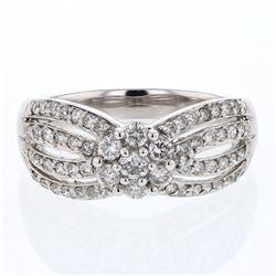 Natural 0.75 CTW Diamond Ring 14K White Gold - REF-75X6T
