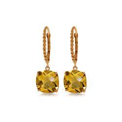 Genuine 7.2 ctw Citrine Earrings 14KT Rose Gold - REF-48M3T