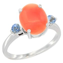 0.24 CTW Blue Sapphire & Natural Coral Ring 14K White Gold - REF-31N6Y