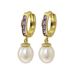 Genuine 9.3 ctw Amethyst & Pearl Earrings 14KT Yellow Gold - REF-44K4V