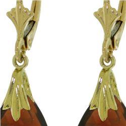 Genuine 6 ctw Garnet Earrings 14KT Yellow Gold - REF-27W8Y